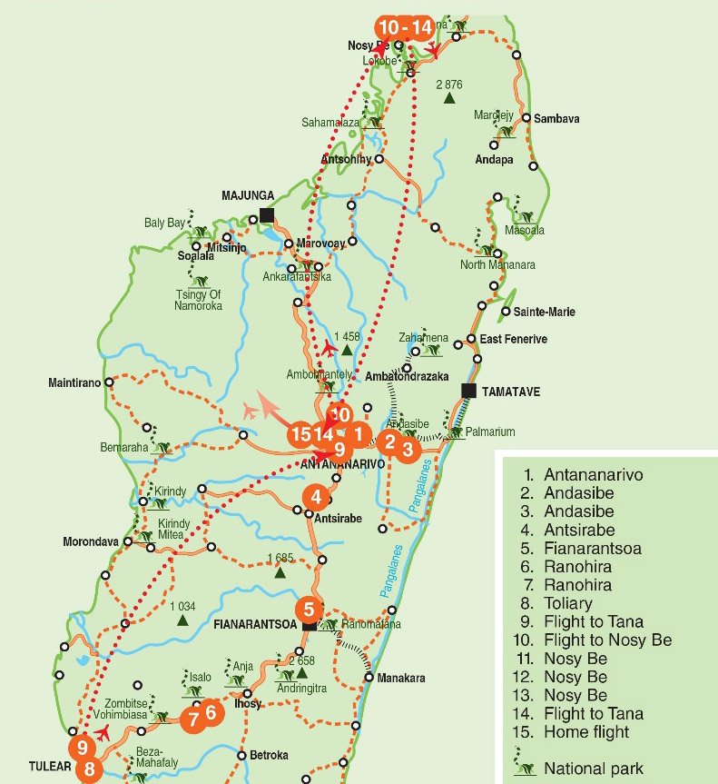 Madagascar 14 Day Adventure MAP - African Adventure Specialists